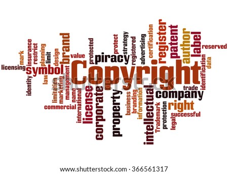 Copyright, word cloud concept on white background. - stock photo