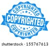 copyrighted blue grunge stamp - stock photo