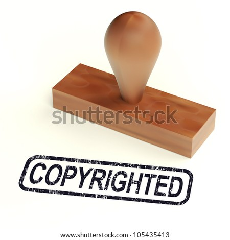 Copyrighted Rubber Stamp Shows Patent - stock photo