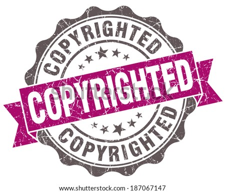 Copyrighted violet grunge retro style isolated seal - stock photo