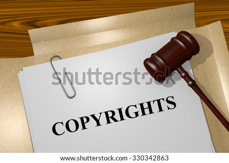 Copyrights Title On Legal Documents - stock photo