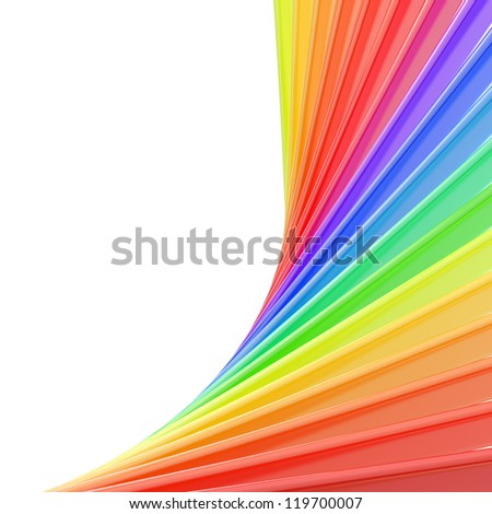 Copyspace backdrop of abstract rainbow colored composition over white background - stock photo
