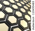 Copyspace hexagon segments made of black plastic and glossy golden metal as abstract background - stock photo