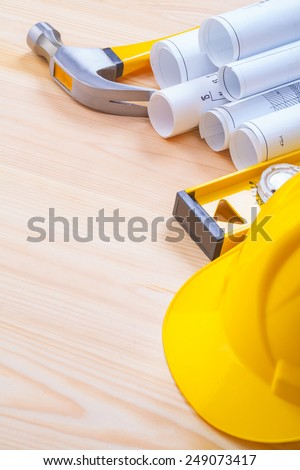 copyspace image set of construction objects on wooden boards with copyspace  - stock photo