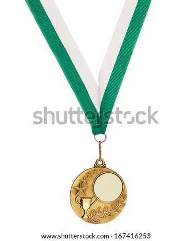 Copyspace metal medal hanging on a green tape, isolated over white background - stock photo