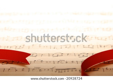 Copyspace of old music notes-B - stock photo