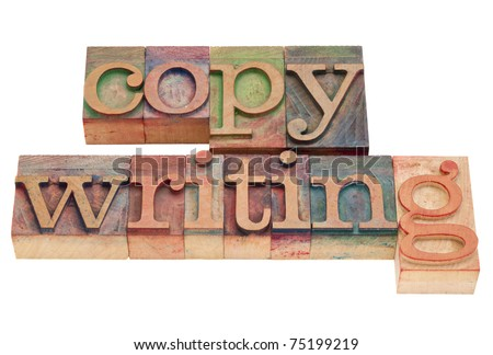 copywriting word in vintage wood letterpress printing blocks, isolated on white - stock photo