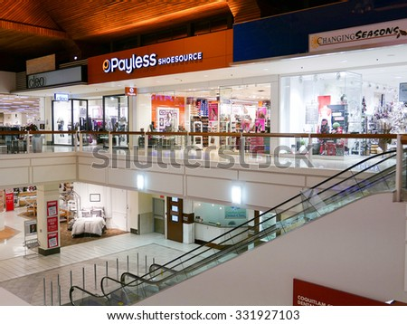 Coquitlam, BC, Canada - October 08, 2015 : One side of shopping mall in BC Canada. It is located in the central of Coquitlam. - stock photo