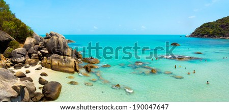 Coral beach panorama in Samui Island, Thailand - stock photo