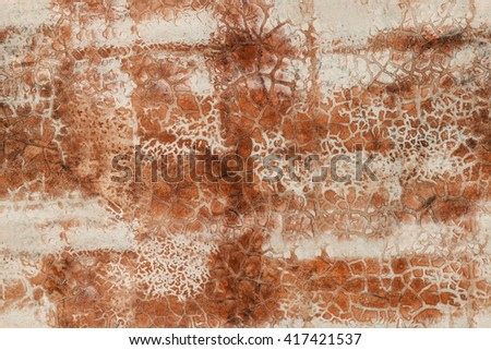 Coral colored cracked peeled concrete texture. Tiled.  - stock photo