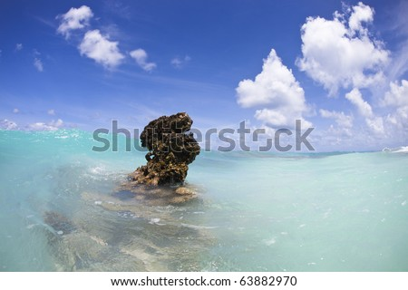 Coral reef above water of turquoise lagoon of a paradise island - stock photo