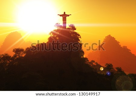 Corcovado Mountain in the Sunset 3D render - stock photo