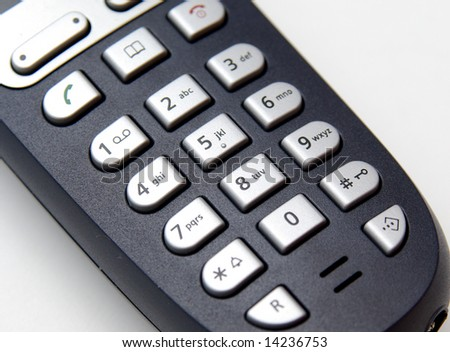 cordless phone keyboard closeup - stock photo