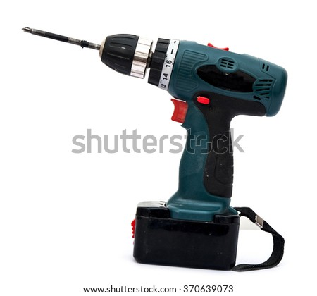 Cordless screwdriver, cordless drill on a white background. - stock photo