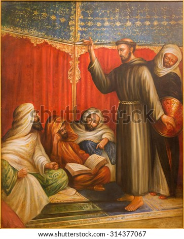 CORDOBA, SPAIN - MAY 27, 2015:  St. Francis of Assisi before sultan Melek el Kamel during one of crusade in church Convento de Capuchinos. The modern paint of 20. cent. by unknown artist. - stock photo