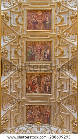 CORDOBA, SPAIN - MAY 31, 2015: The ceiling of main nave in church Iglesia de San Agustin with the frescos by Cristobal Vela (1588-1654). - stock photo