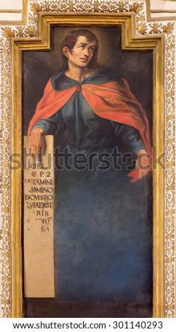 CORDOBA, SPAIN - MAY 27, 2015: The fresco of prophet Joel from 17. cent. by Cristobal Vela and Juan Luis Zambrano  in church Iglesia de San Augustin. - stock photo