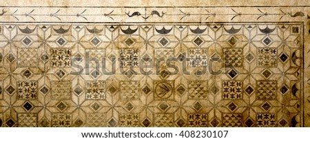 CORDOBA, SPAIN - September 10, 2015: Detail of a roman mosaic from the second or third century AD excavated on Plaza de la Corredera in 1959, on September 10, 2015 in Cordoba, Spain - stock photo