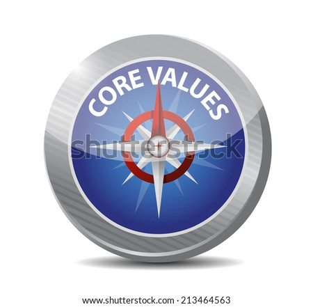 core values compass illustration design over a white background - stock photo