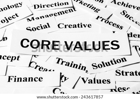 Core Values concept with some related words paper. - stock photo