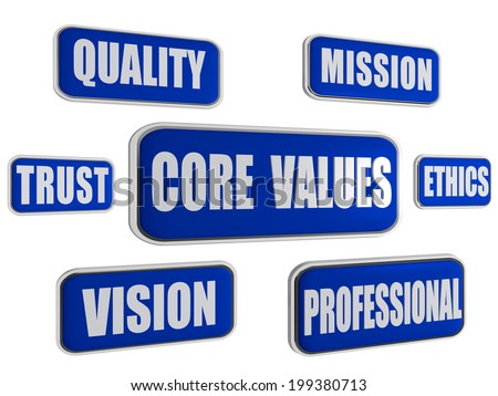 core values - quality, mission, ethics, professional, vision, trust - text in 3d blue banners with business concept words - stock photo