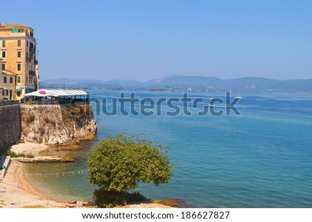 Corfu island and the old city in Greece - stock photo