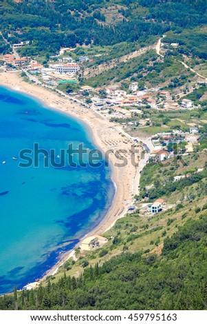 Corfu island panorama from above. Corfu beach coastline birds eye view - stock photo
