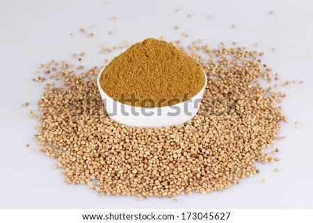 Coriander seed in white bowl on the white background - stock photo