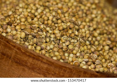 Coriander seeds in a wooden bowl - stock photo