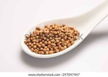 Coriander seeds in white ceramic spoon on white background - stock photo