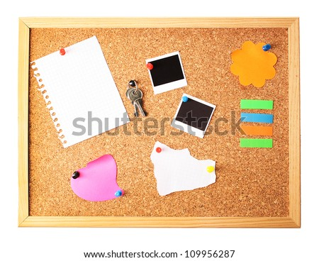 Cork board with notes - stock photo
