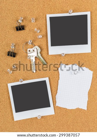 Cork board with pinned blank notes - stock photo