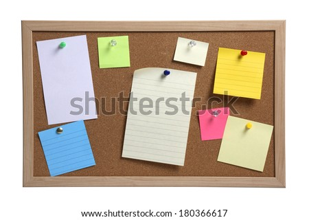 Cork board with several colorful blank notes with pins on white background - stock photo