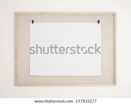 cork bulletin board with poster - stock photo