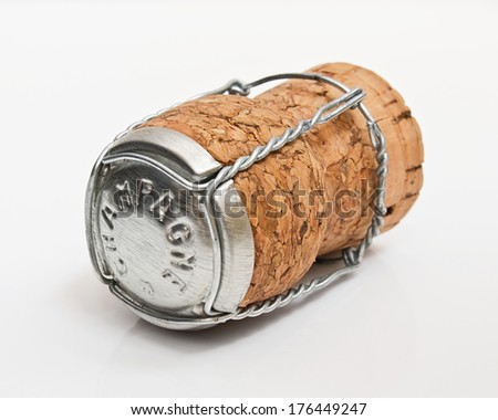 Cork from a bottle of champagne often used as part of a winning celebration especially in grand prix events - stock photo