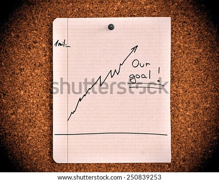 Cork notice board with graph showing profit - grow up business - stock photo