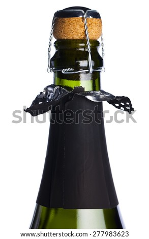 Cork on champagne bottle isolated on a white background - stock photo