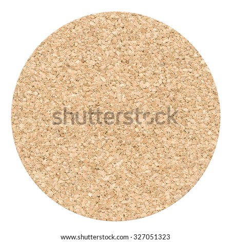 Cork table coaster isolated on a white background - stock photo