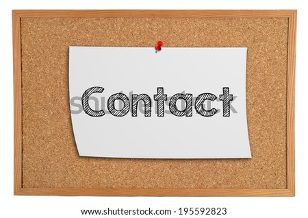 Corkboard with a white piece of paper with information: contact - stock photo