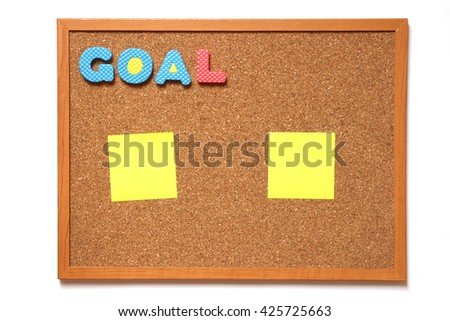 Corkboard with paper and wording goal placed on white background - stock photo