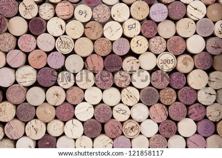 Corks Background pattern of wine bottles corks - stock photo