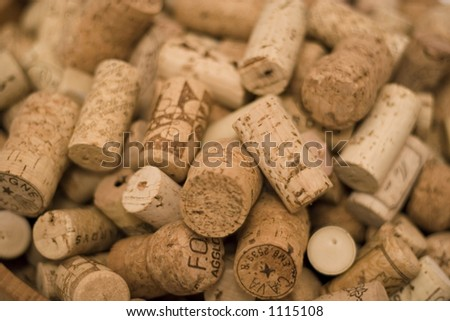 Corks in a random pile. Natural materials and nice textures. - stock photo