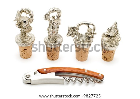 corkscrew and stopper - stock photo