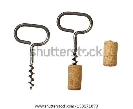 Corkscrew for wine and cork on a white background. - stock photo