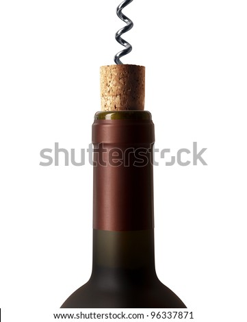 corkscrew with a bottle of wine isolated on a white background - stock photo
