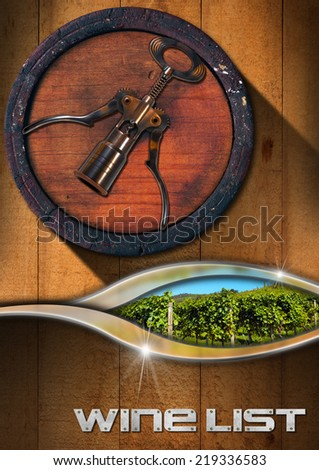 Corkscrew with Wooden Barrel and Vineyard / Wooden Background with a old wine barrel, corkscrew and green vineyard, text Wine List. Template for wine list or menu  - stock photo