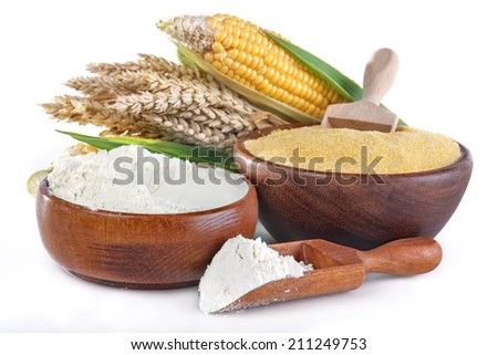 corn and wheat with flour and grits on white - stock photo