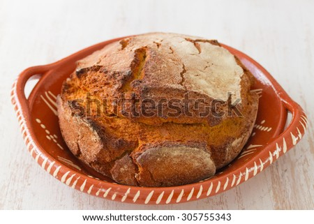corn bread on white wooden background - stock photo