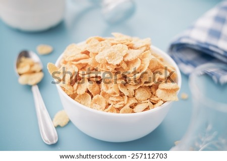 Corn Cereals In A White Bowl - stock photo