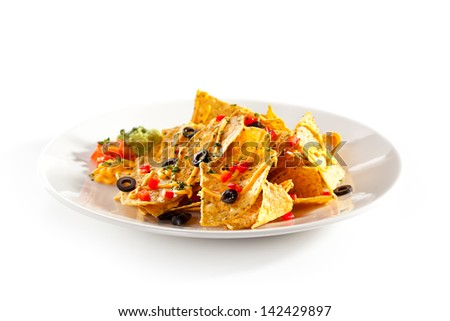 Corn Chips with Cheddar Sauce - stock photo